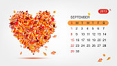 Vector calendar 2013, september. Art heart design