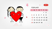 Vector calendar 2013. Valentine day for your design