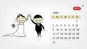 Vector calendar 2013. Wedding party for your design
