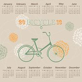 Vector calendar 2013 with bicycle on floral background