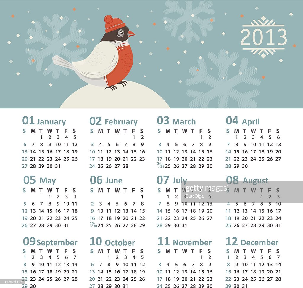 Vector calendar 2013 with cover illustration