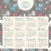 Vector calendar 2013 with funny cats and flowers