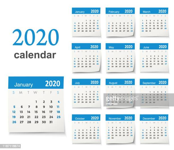vector calendar 2020 - august stock illustrations
