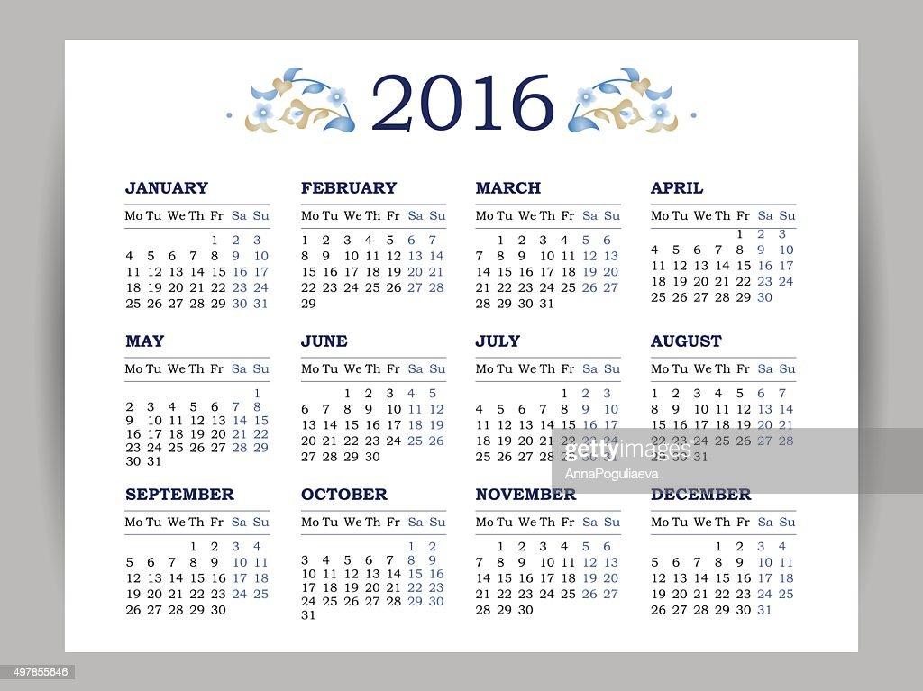 Vector calendar for 2016 on white background.