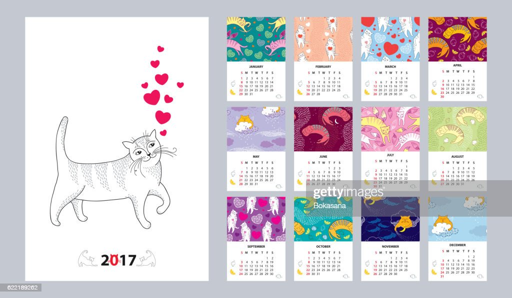 Vector calendar for 2017 with funny cats in contour style.