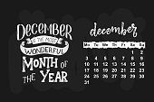 Vector calendar for one month of the year. Hand drawn lettering quote for calendar design