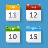 Vector Calendar Icon Set Flat Design