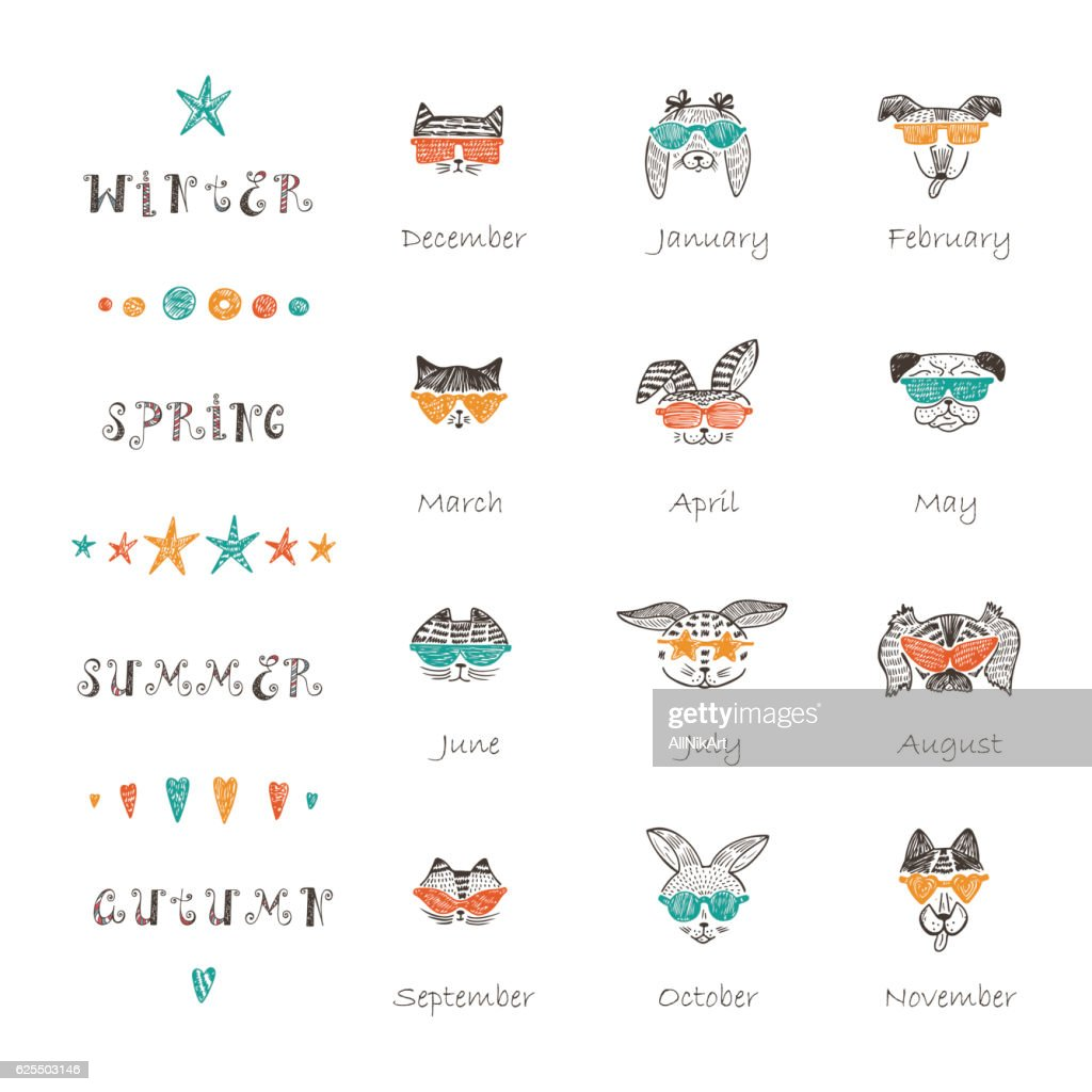 Vector Calendar template with Doodle Cats, Rabbits, Dogs with Sunglasses