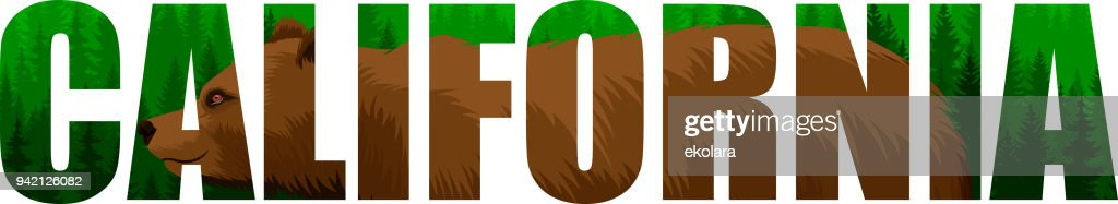 vector California - American state word with grizzly bearl and mountains woodland forest