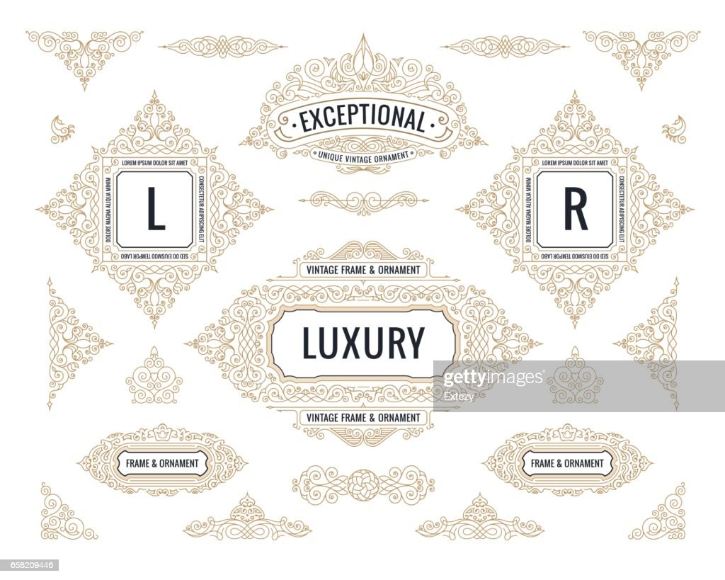 Vector Calligraphic Design elements. Vintage Flourishes Retro  and frames set