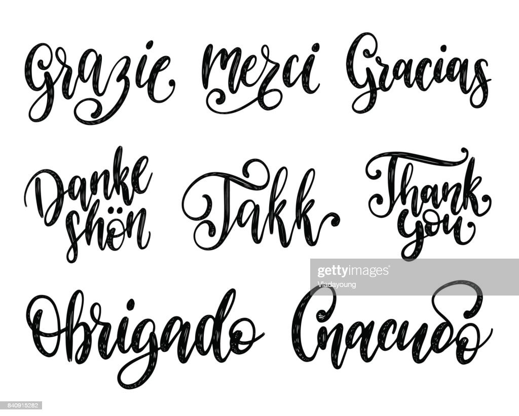 Vector calligraphy set of different languages translation of Thank You.Hand lettering of international thankfulness word