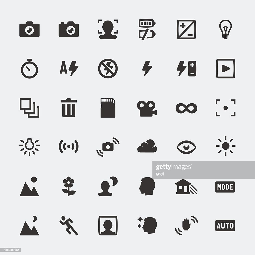Vector camera functions mini icons set