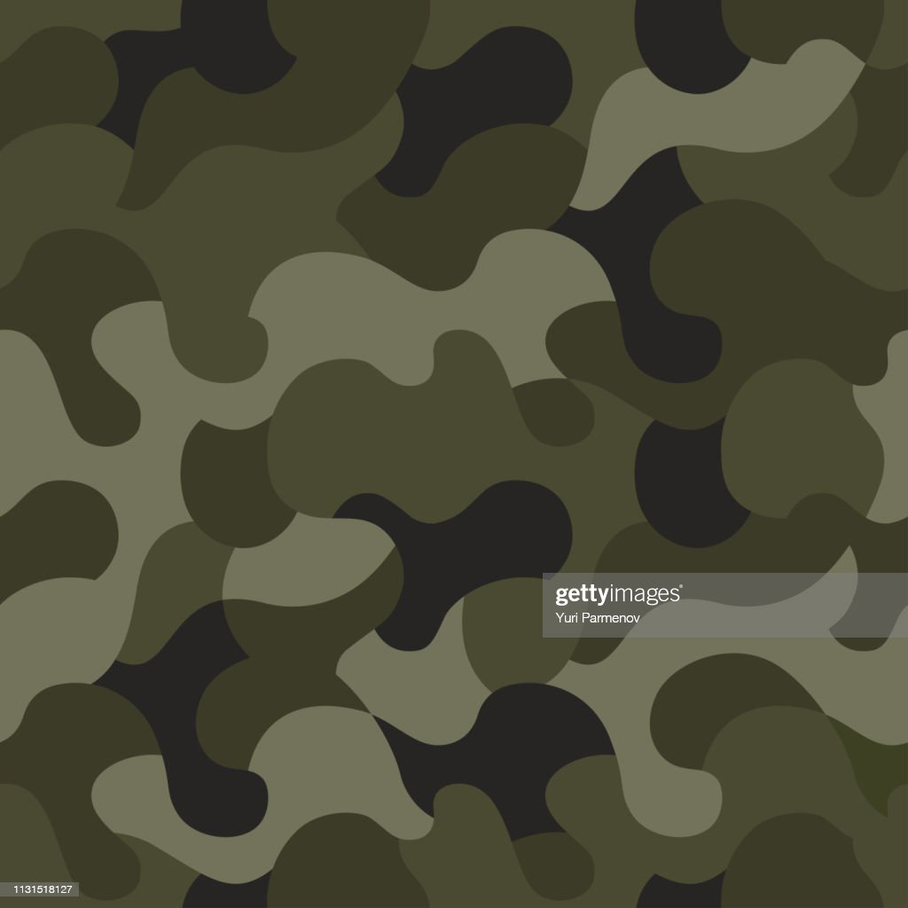 Vector camouflage seamless pattern. Khaki design style for t-shirt. Military texture, camo clothing while hunting illustration.