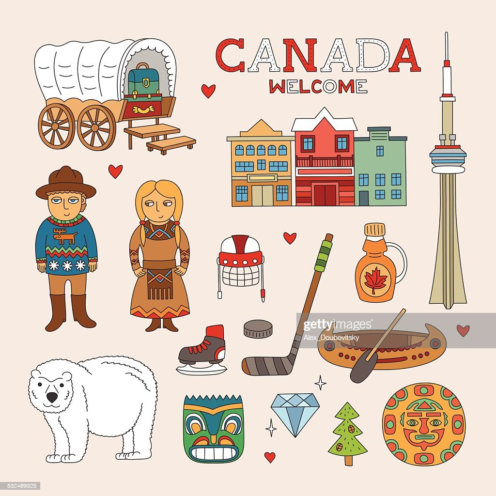 Vector Canada Doodle Art for Travel and Tourism