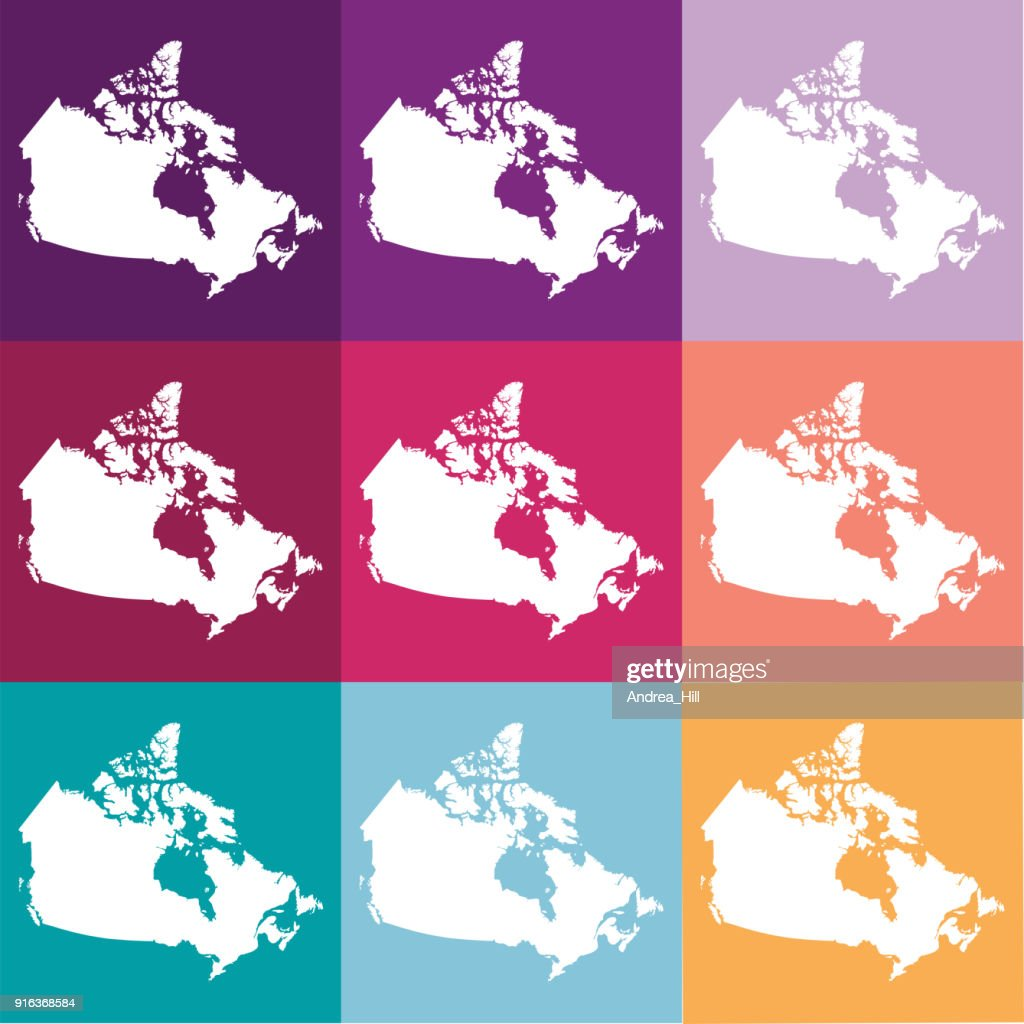 Vector Canada Map In Muted Colours Vector Art Getty Images
