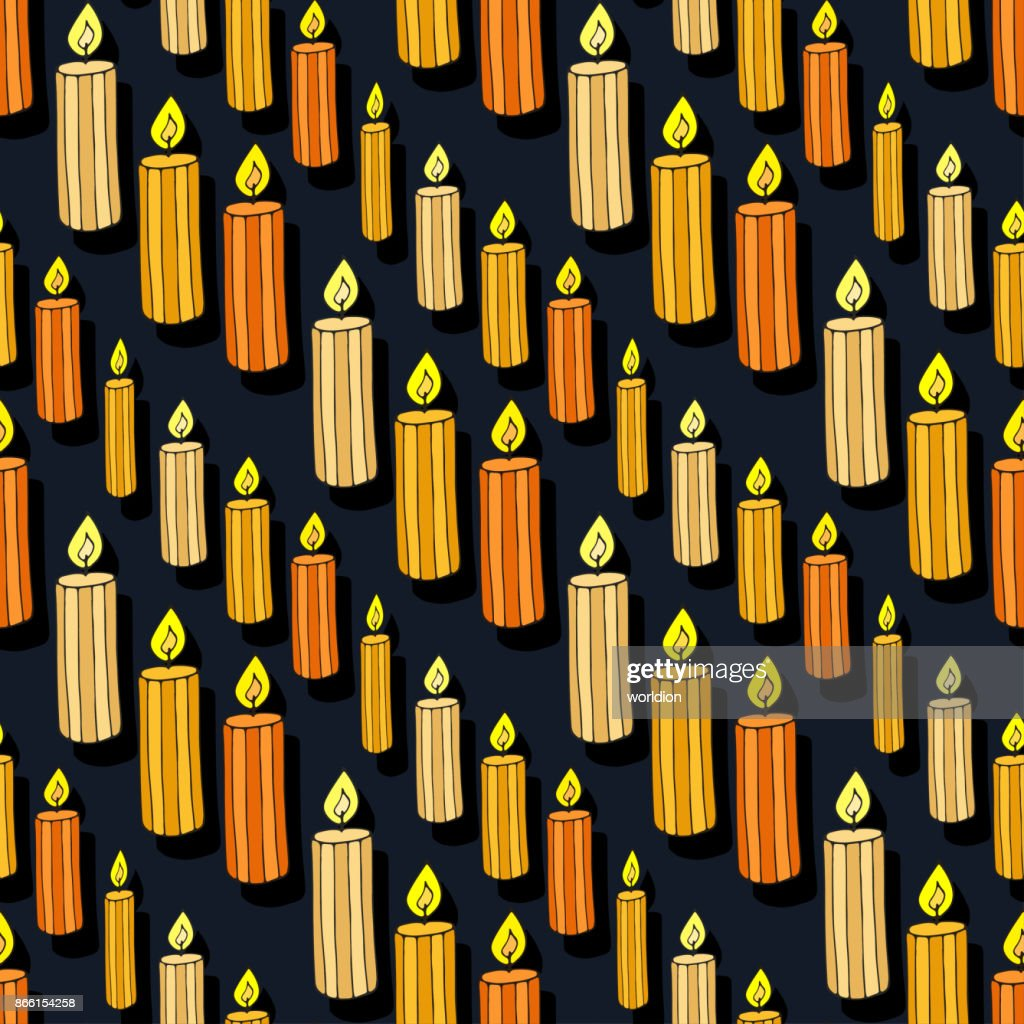 Vector candles seamless pattern. Doodle background for Halloween seamless pattern