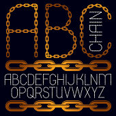 Vector capital creative font made with iron chain, linked connection.