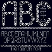 Vector capital decorative font created using connected chain link.