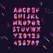Vector capital trendy gradient fluid alphabet with numbers on black background.