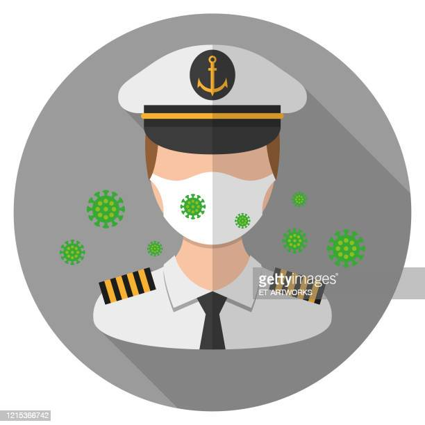 vector captain wearing a medical mask - team captain stock illustrations