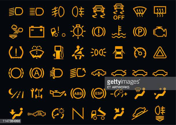 vector car dashboards icons - warning symbol stock illustrations
