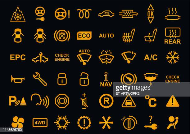vector car dashboards icons - dashboard stock illustrations