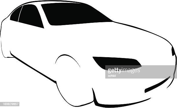 vector car outline - compact car stock illustrations, clip art, cartoons, & icons