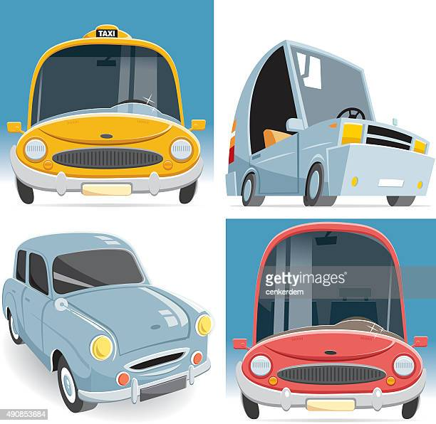 vector car set - vehicle hood stock illustrations, clip art, cartoons, & icons