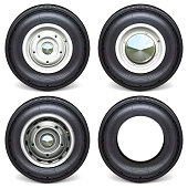 Vector Car Tires with White Steel Disks