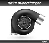 Vector car turbocharger isolated on white background. Realistic black turbine icon. Tuning turbo superchardger