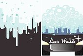 Vector car wash banner for advert.  Auto cleaning and polishing