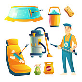Vector car washing service with cartoon character