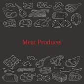 Vector card template with different kinds of meat products