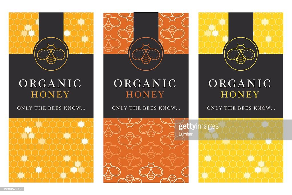 Vector card template with honey bee emblems and seamless pattern.