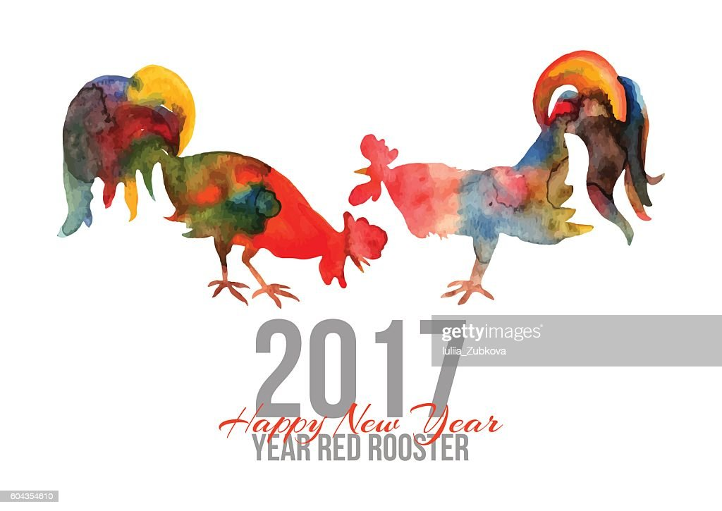 Vector card with fire cocks in watercolor and text Happy