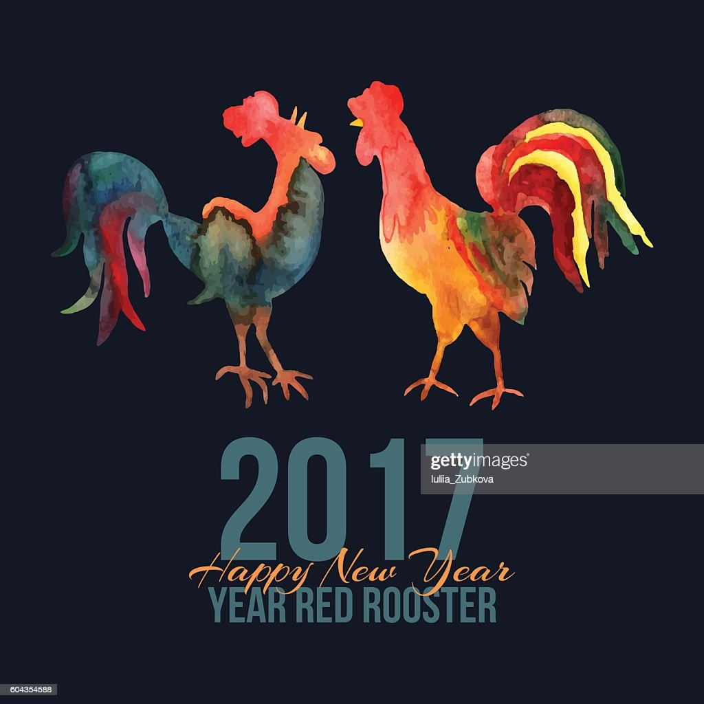 Vector card with fire roosters in watercolor and text Happy