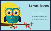 Vector card with flat owl.