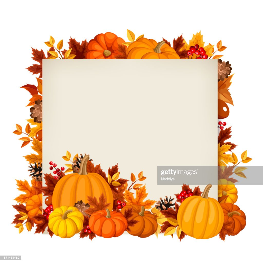 Vector card with pumpkins and autumn leaves.