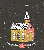 Vector card with the Catholic temple and starry sky.