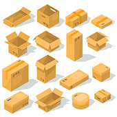 Vector cardboard boxes of various shapes and sizes with emblems of fragility on them