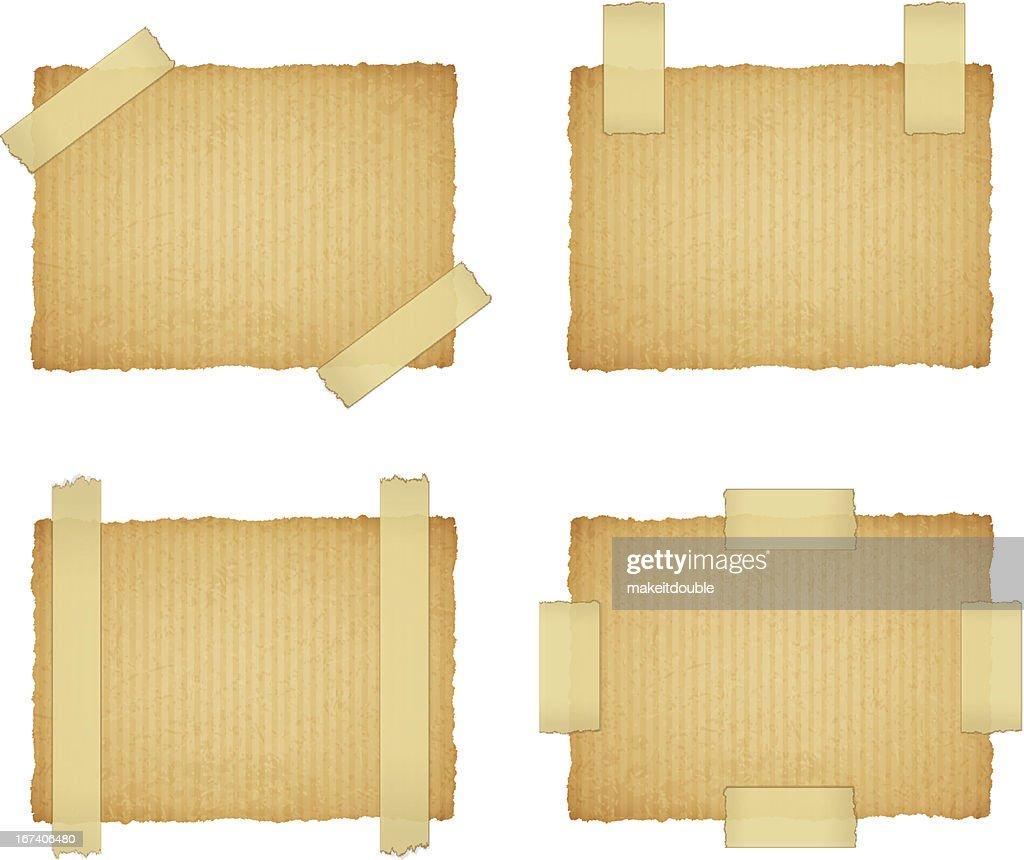 Vektor-Papier-Aufkleber mit Band befestigt ein Klebrig : Vektorgrafik
