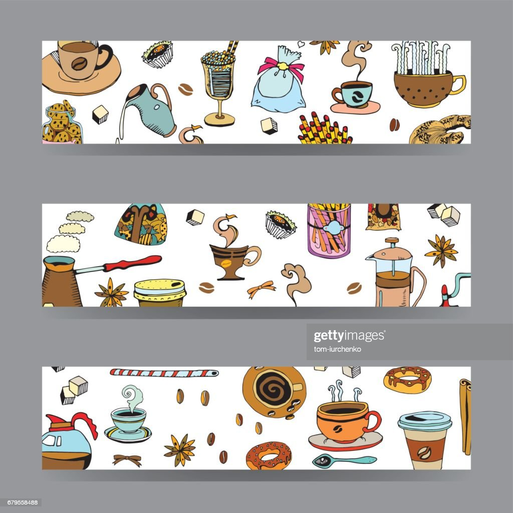 Vector Cards and Banners with Coffee Theme. Restaurant Menu Background. Hand Drawn Doodles Style.