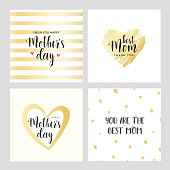 Vector cards for Mother's day. Best Mom. Gold collection