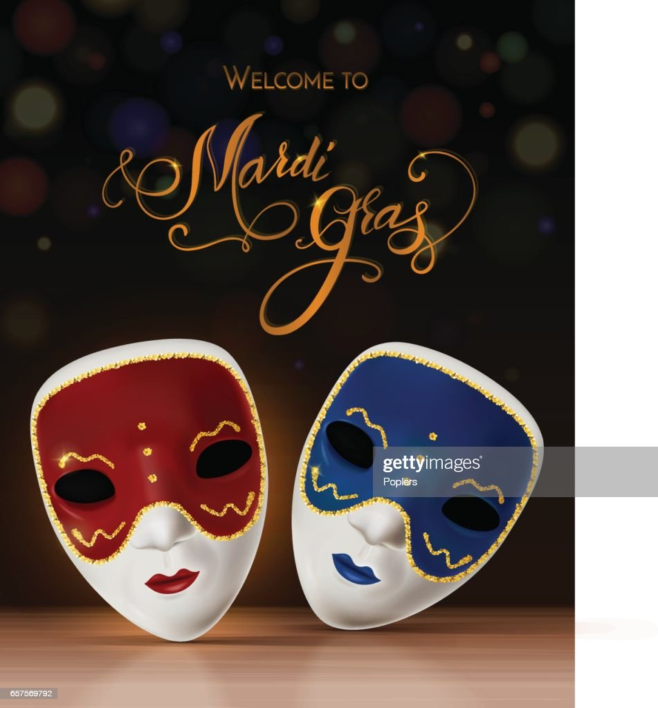 Vector carnival mask with lettering. Invitation to carnival with colorful shiny background. Vector illustration EPS 10.