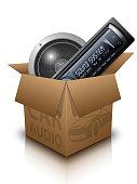 Vector Carton Box and Car Audio