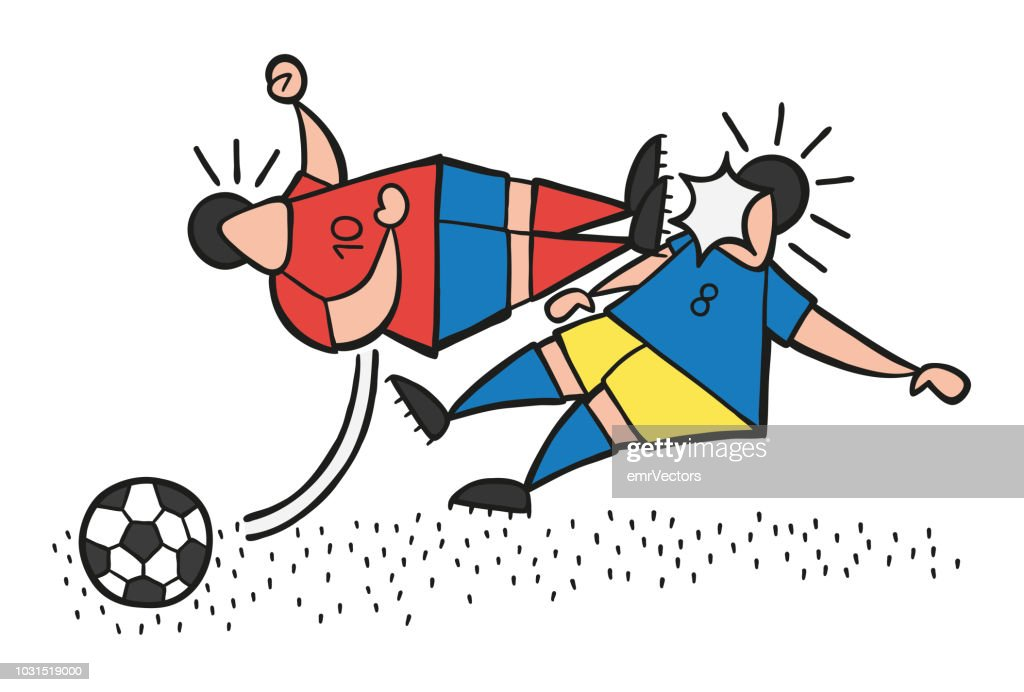 Vector cartoon aggressive soccer player man flying kick to other soccer player's face