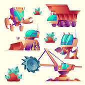 Vector cartoon alien mining machinery for planets