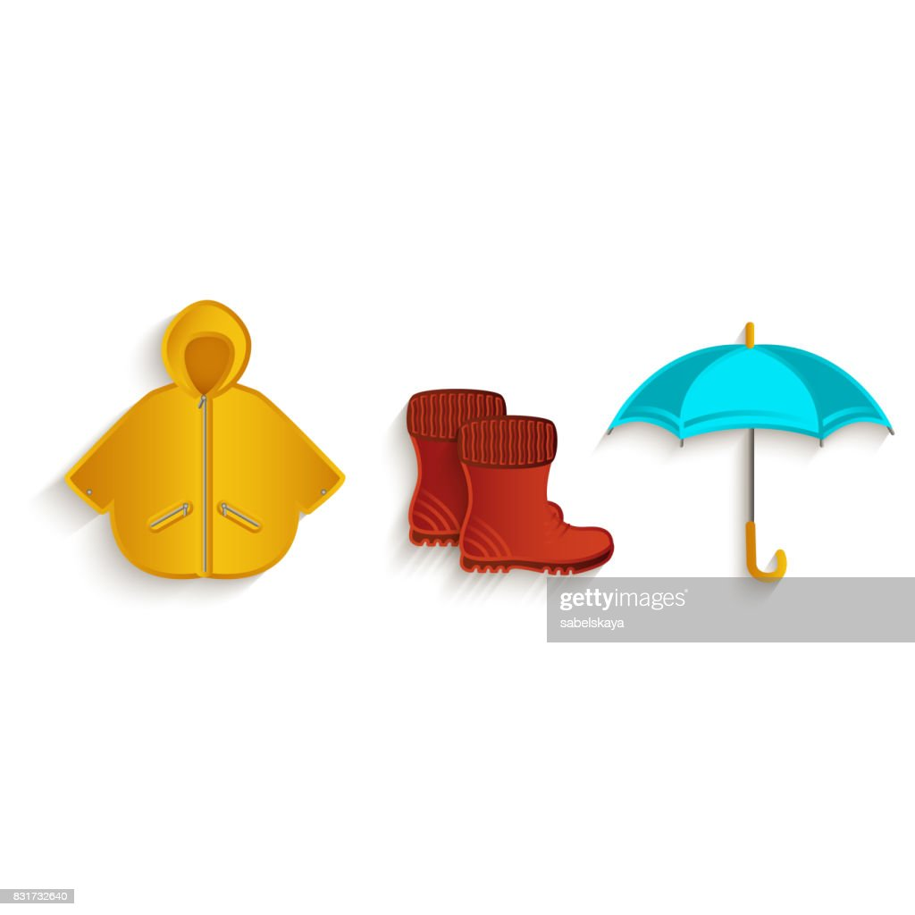 vector cartoon autumn symbol objects set isolated