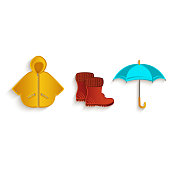 vector cartoon autumn symbol objects set isolated