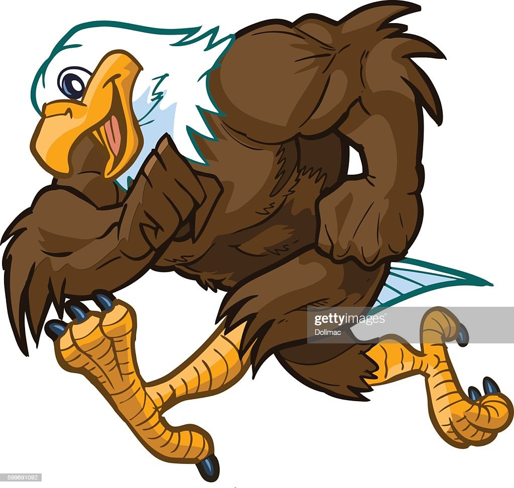 Vector Cartoon Bald Eagle Mascot Running